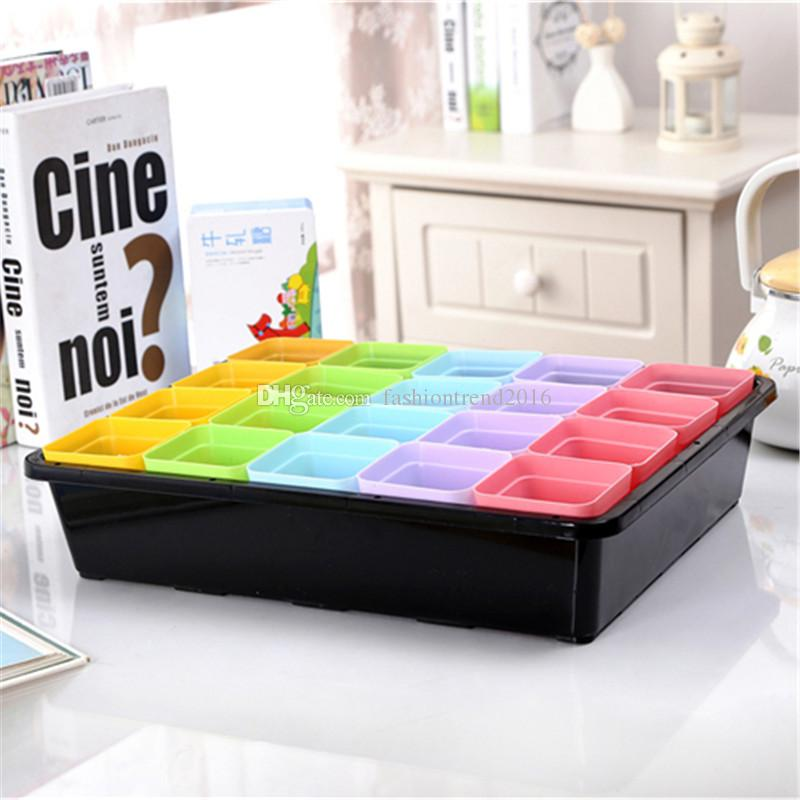 Candy Color FlowerPot with Tray Square Plastic Planter Nursery Garden Desk Home Decor