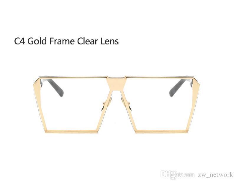nuovi occhiali da sole donna uomo oversize quadrati occhiali da vista UV400 occhiali da vista montature da vista vetro senza montatura 77