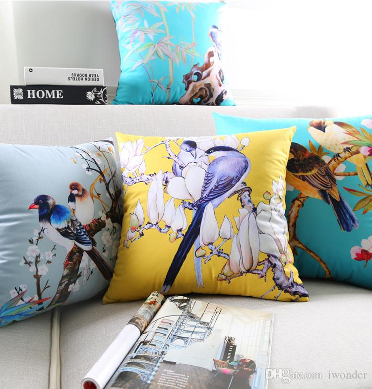 Spring Flower Cushion Cover Birds Swallow Supersoft Pillow Cover 11 Styles Pillow Cases Candy Color 45X45cm 30X50cm Bedroom Sofa Decoration