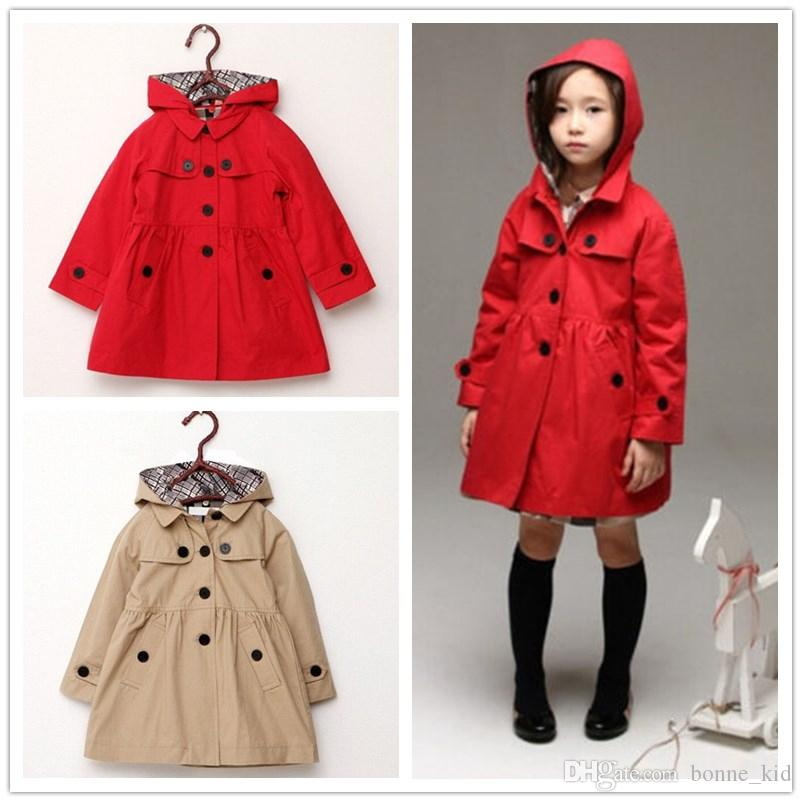 ca40c9e93235 Baby Girl Trench Coat Removable Hooded Jacket European Solid Cotton ...