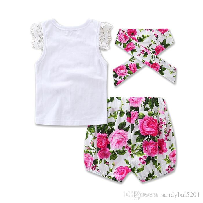 Baby Girls Sets 2017 Kids Girls Lace T-shirt + Bow Short Pants + Headband Suits Newborn Infant Floral Print Outfits Children Clothing