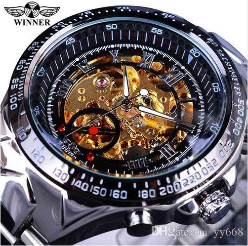 Vincitore Classic Series Golden Movement Inside Silver Acciaio Mens Mens Skeleton Watch Top Brand Luxury Fashion orologio automatico