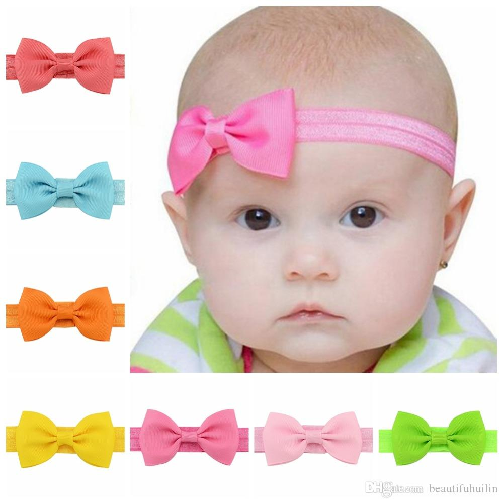 390738de4600 Baby Girl Small Bow Tie Headband Grosgrain Ribbon Bow Elastic Hair ...