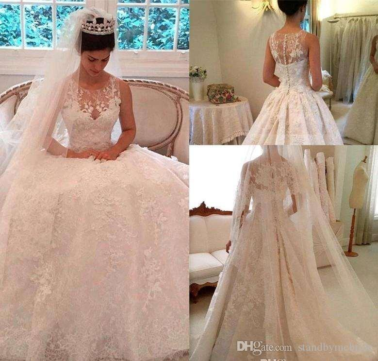 2017 Vintage Lace Ball Gown Wedding Dresses Sheer Plus Jewel Neck ...