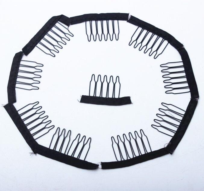 50 adet siyah renk peruk tarak peruk klipleri ve taraklar 5teeth peruk kap ve peruk yapma tarak saç uzatma araçları