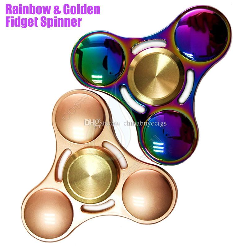 Top Fidget Spinner Toys Rainbow Golden Triangle Hand Spinners Alloy CNC EDC Finger Tip Decompression Novelty Rollover Plush Toy Colors DHL