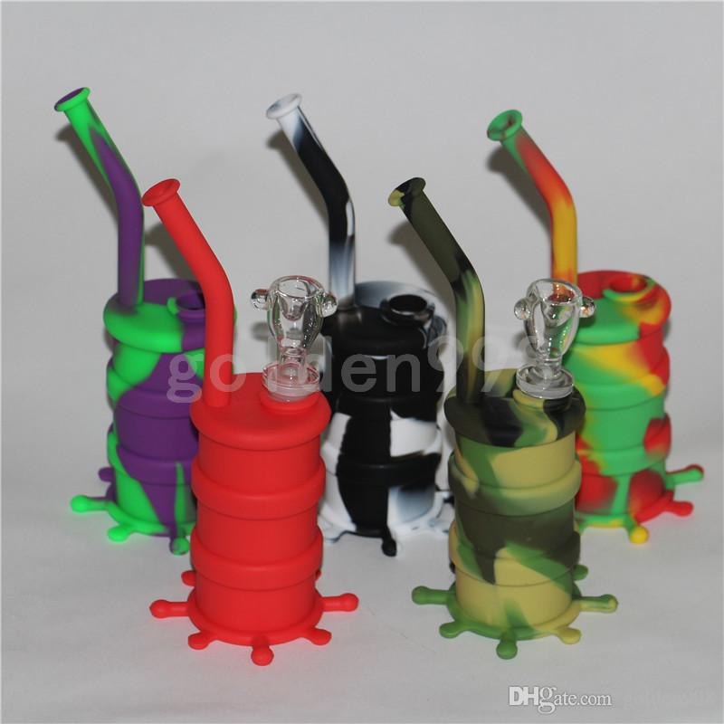Portable Hookah Silicone Barrel Rigs para Fumar Erva Seca Inquebrável Água Percolator Bong Fumar Óleo Concentrado De Tubulação DHL