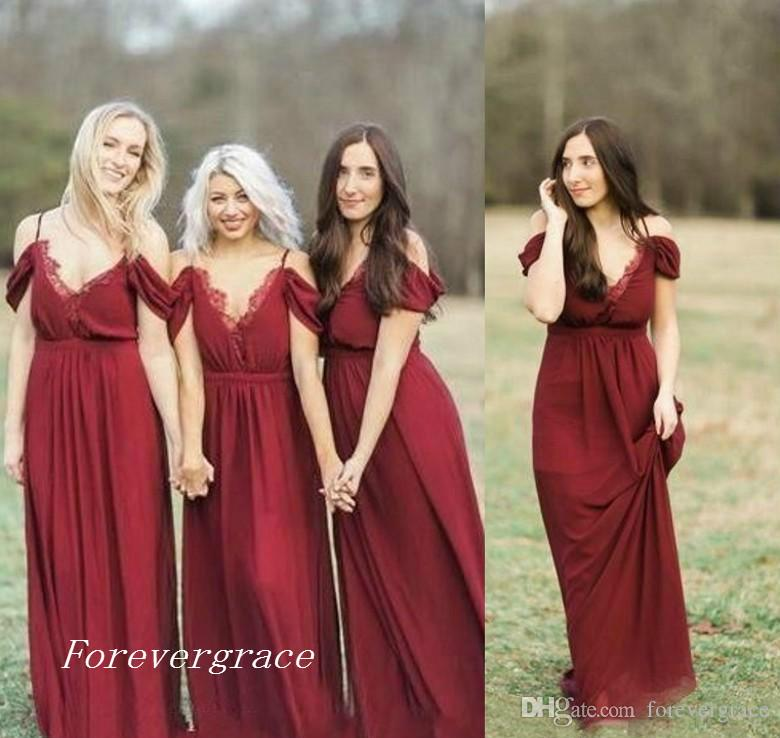 2017 High Quality Bohemian Dark Red Bridesmaid Dress Garden Country ...