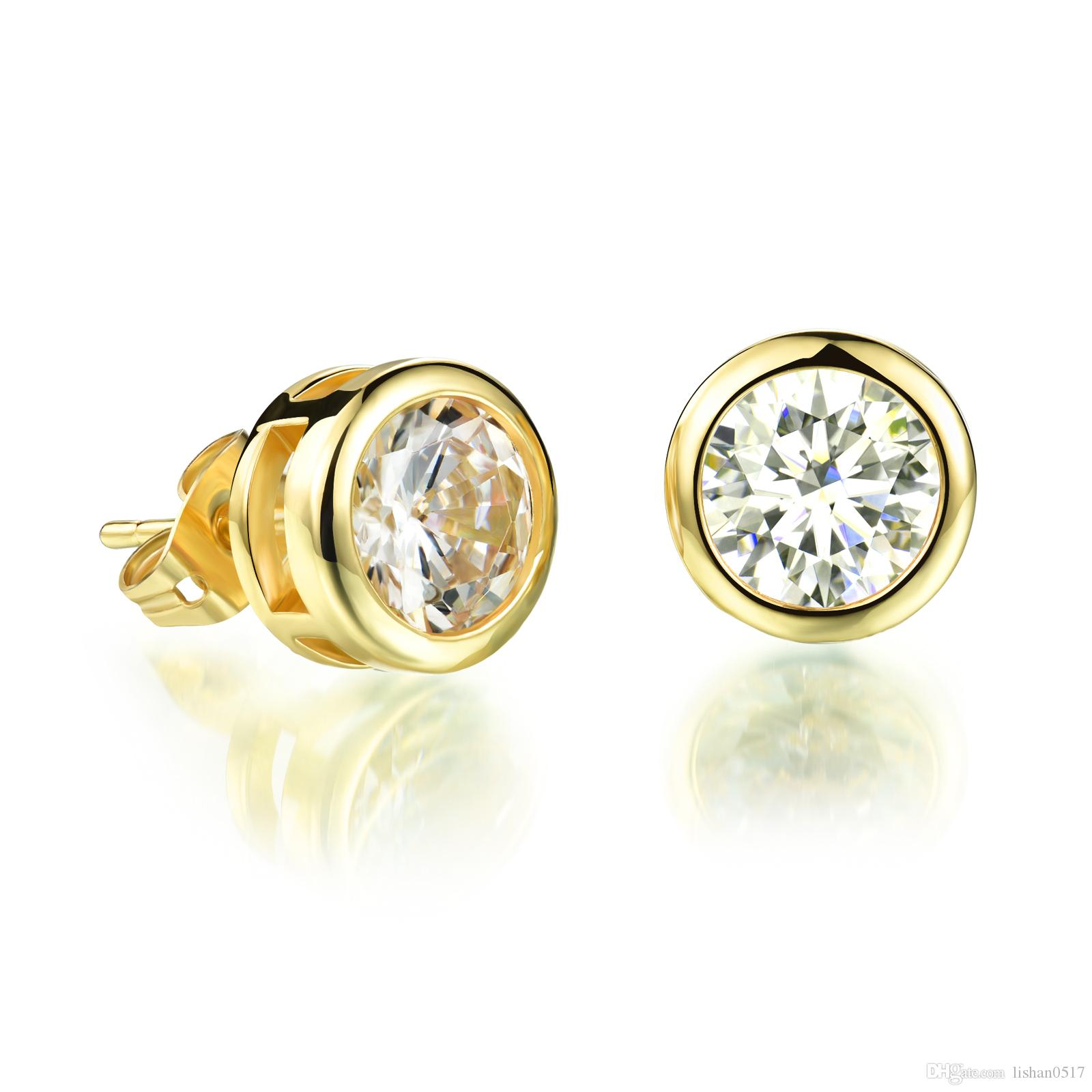 97a110995 Gold Plated Woman Zirconia Crystal Stud Earring Platinum Plated ...