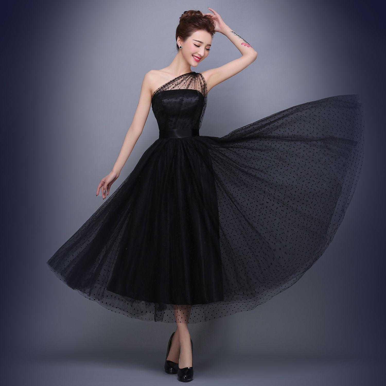 Großhandel Tee Länge Tulle Formale Abendkleid One Shoulder Formale ...