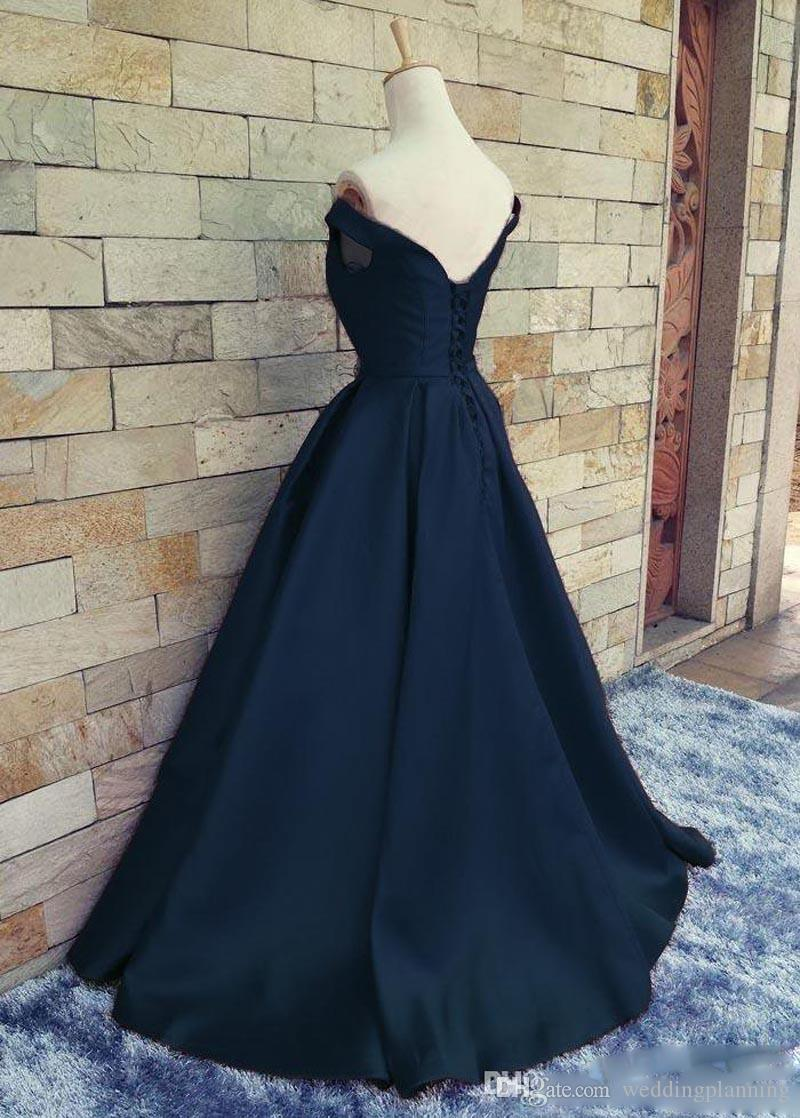 Real Image Navy Blue Cheap 2017 Prom Dresses Off Shoulder V Neck Ruched Satin Floor Length Corset Lace Up Backless Homecoming Party Dresses