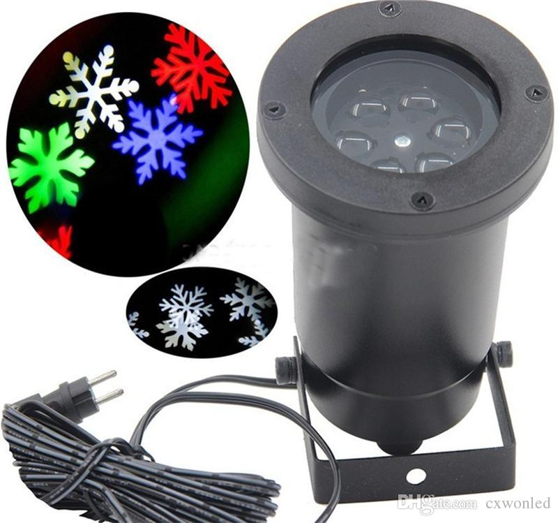 Lámparas de proyector láser de nieve en movimiento a prueba de agua Copo de nieve LED Luz de escenario para luz de fiesta de Navidad Lámpara de jardín al aire libre