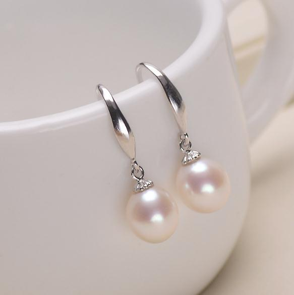 1 Pair of 8-9mm Rice Shape Natural Freshwater Pearl Earrings