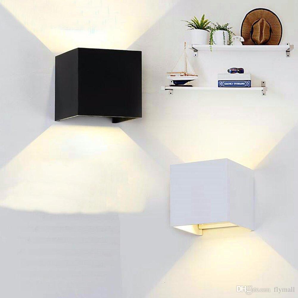 Dimmable 7W 12W Superficie Ajustable Cubo montado Lámpara de pared del LED Alumbrado exterior de aluminio arriba y abajo de las lámparas de pared Luces de interior de la pared
