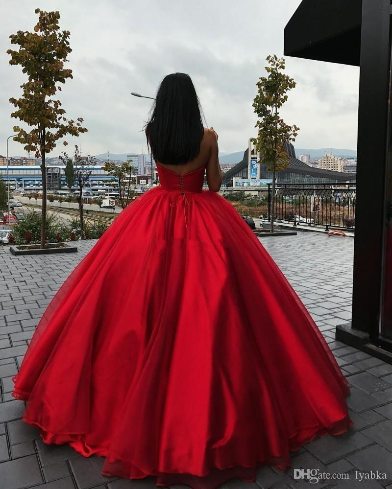 2018 Ball Gown Red Prom Dresses Backless Vintage Sweetheart ...