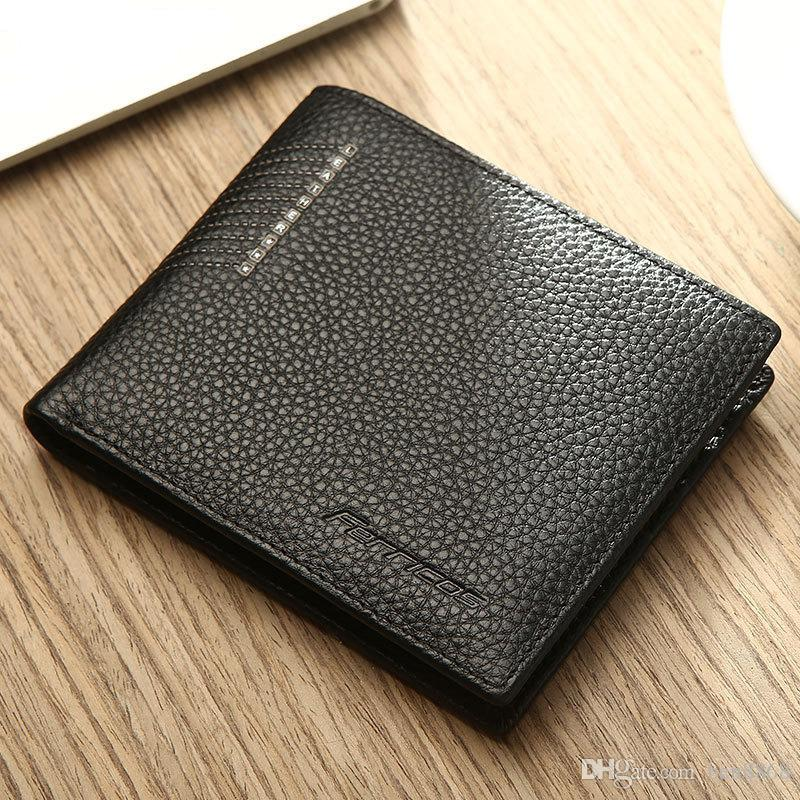 Ultrathin Quality Genuine Leather Short Men Wallet Fashion Business Card Holder Clutch Small Purse Cow Leather Money Bag