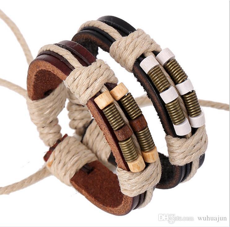 Nouveau Mode Simple Bracelet Tissé Pour Hommes Bronze Printemps En Bois Perles En Cuir Bracelets En Cuir Noir / Brun Réglable Taille Garçons Cadeaux