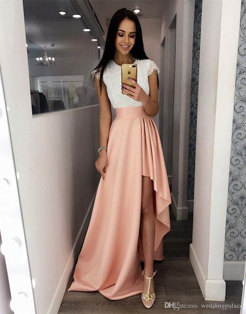 Großhandel Einfache Kurzarm Lange Abendkleider Prom Kleider Spitze Satin  Side Split Formale Abendkleider Kleider Für Besondere Anlässe Von