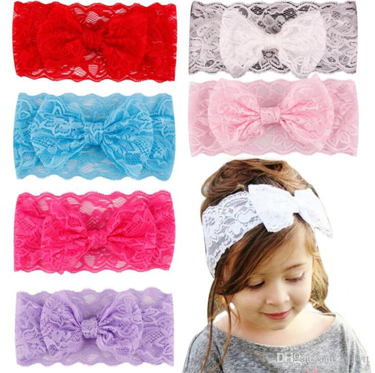 New Arrival Hair Accessories Kids Hair Band Children's Bow Lace Headband Baby Girls Headdress Wholesale 7Colors GC01