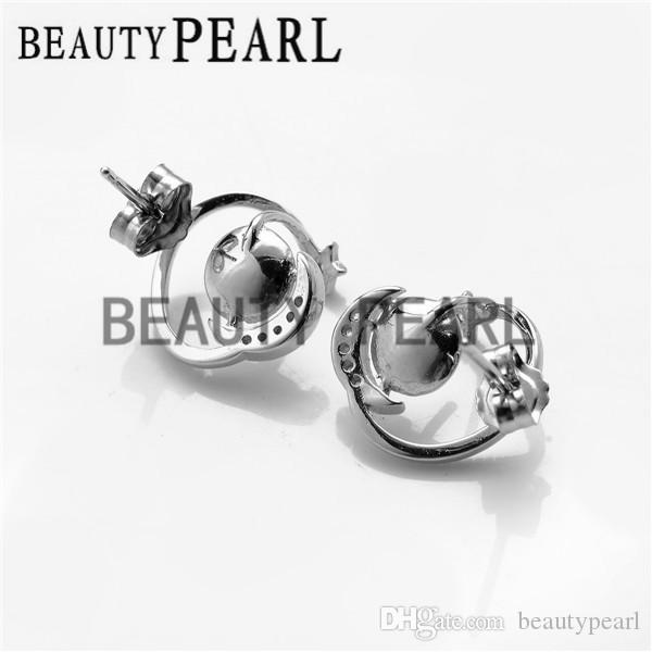 Star and Moon Earring DIY Jewelry Findings 925 Sterling Silver Zircon Stud Earring Blanks