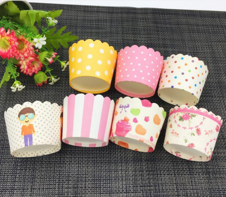 Cake Mould Cupcake Tool Mini Muffin Baking Cups Random Style Bands Cupcake Wrapper, Cupcake Liners Greaseproof Paper Cases