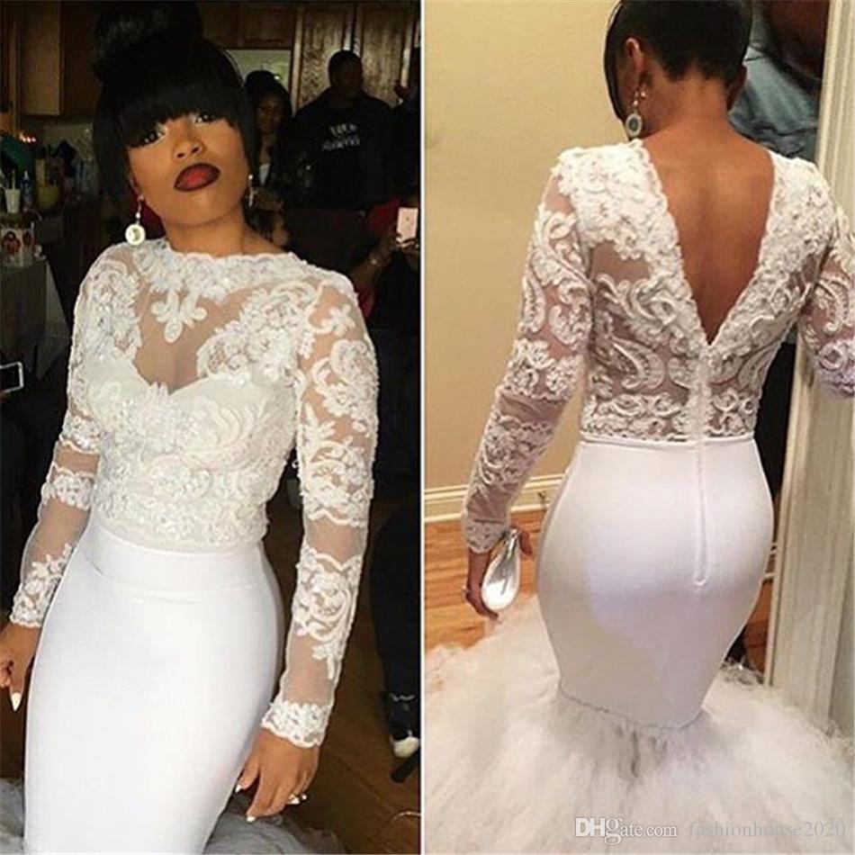 399257237d1d Vestidos Para Formatura Modest Branco Africano Prom Dresses Sereia 2017  Applique V Neck Voltar Puffy Saia Menina Negra Vestido Formal Manga Longa  Vestidos ...