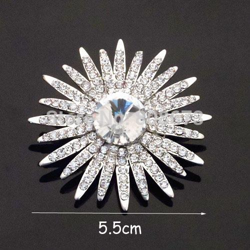 Wholesale- Sparkly Top Crystals Flower Pins Brooch For Wedding Bridal Bouquet Brooch Party Costume Clothes Pins For Women