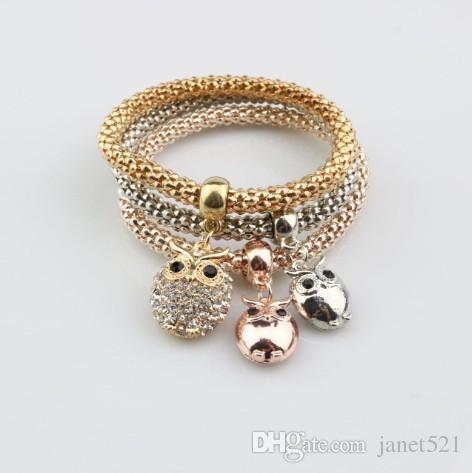 oro / plata / oro de Rose del tono de maíz Cadena pulseras del estiramiento para las mujeres