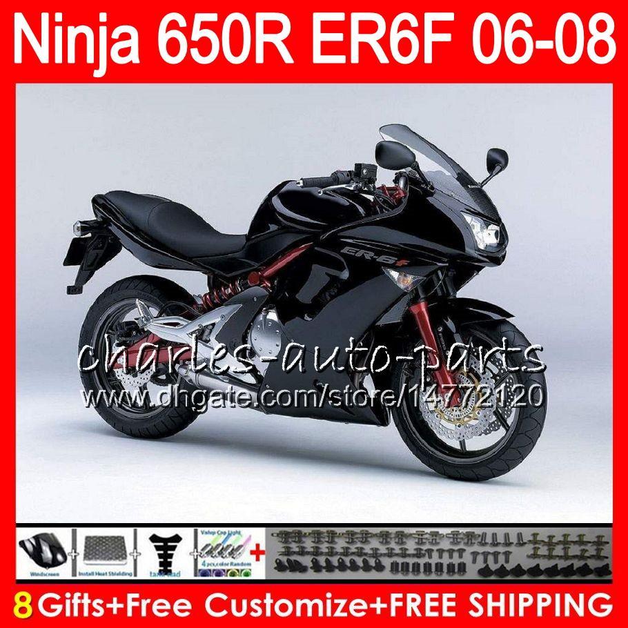 8Gifts Body For KAWASAKI NINJA 650R ER6F 06 07 08 Ninja650R 20NO48 ER 6F 06-08 ER6 F ER-6F 2006 2007 2008 Factory black Fairing Kit
