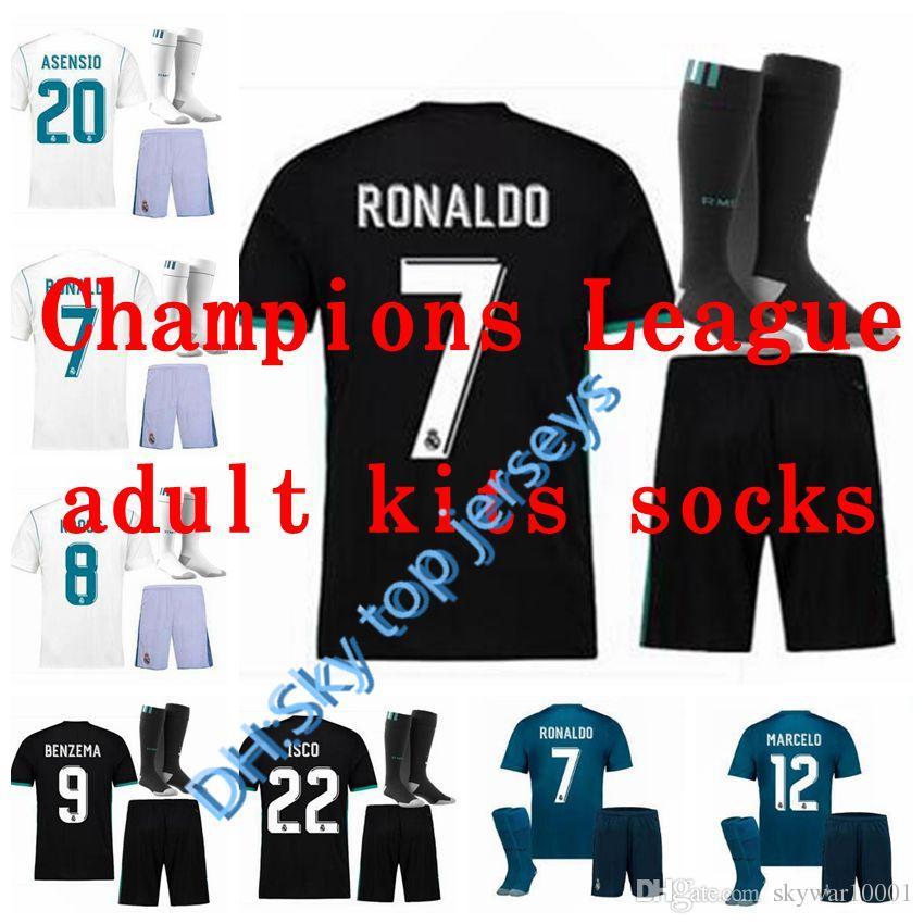 627c05b21 Best Champions League 17 18 Real Madrid Kits Adult Soccer Jerseys ...