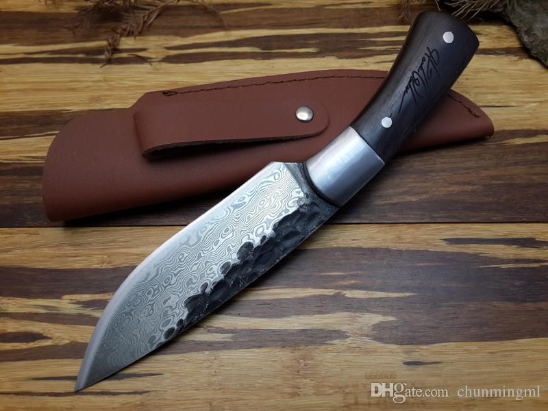 Высокое качество, фиксированным лезвием ножа новая высокоуглеродистая сталь ручной работы кованые Дамаск охотничий нож стальной головкой + редкие эбонитового дерева ручка инструмент