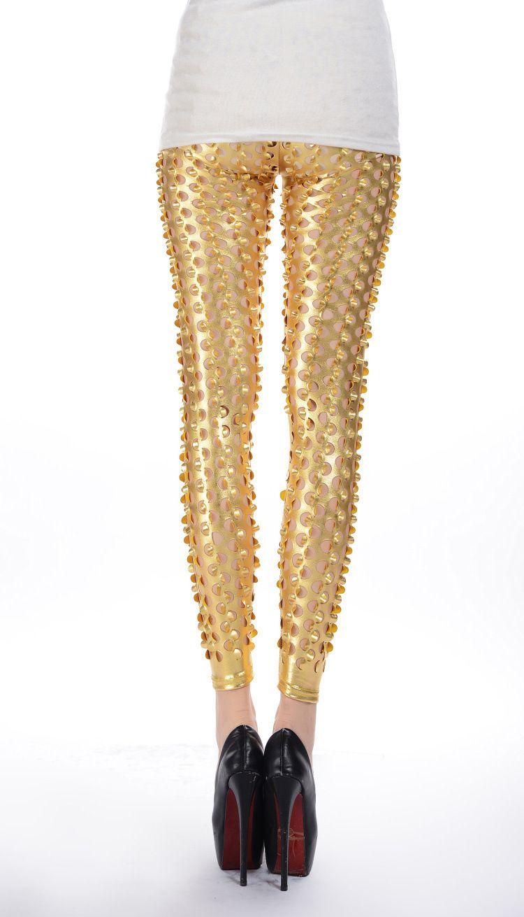 2017 Punk Metal Holes escala de pescado patrón brillante piel delgada de color sólido Leggings mujeres cintura alta Bodycon flaco polainas lápiz pantalones