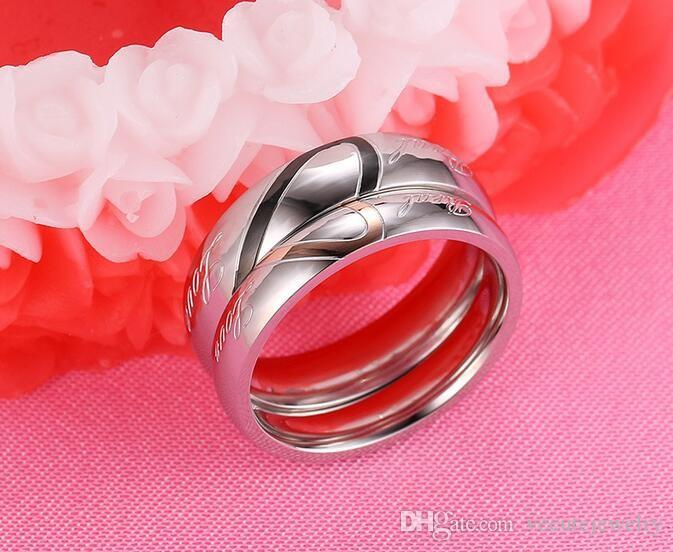 18K White Gold Plated Stainless Steel Love Heart Couple Ring Lover's Jewelry Size 4-15