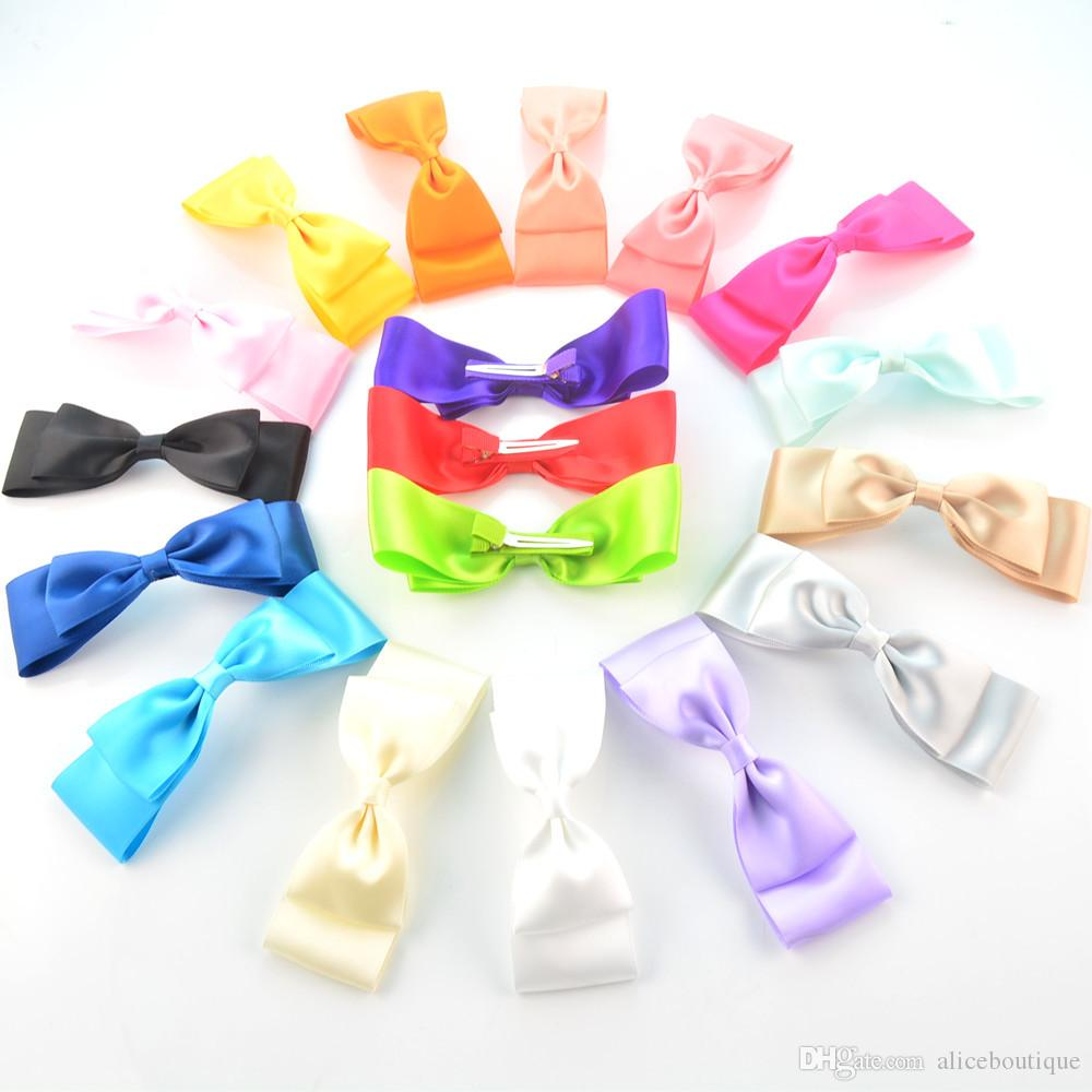 Fashion Headwear Hair Clip with 4.72inch Satin Ribbon Bow Girl Bowknot Hairpin Hair Accessories 18 Candy Color H0261