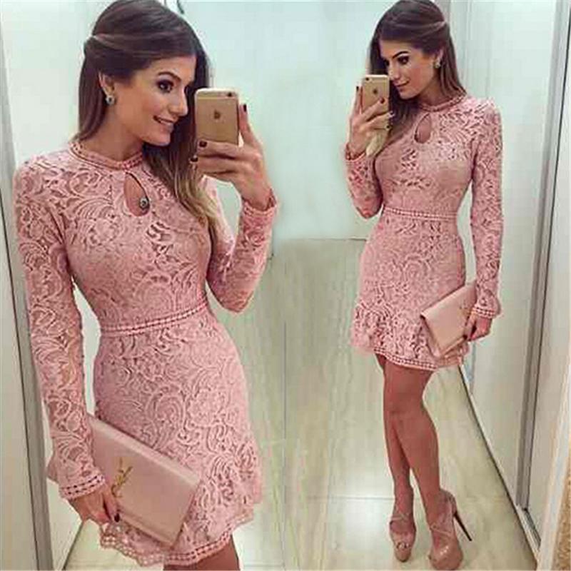 21e5991aa0 Online Cheap Wholesale New Arrive Vestidos Women Fashion Casual Lace Dress  2016 O Neck Sleeve Pink Evening Party Dresses Vestido De Festa Brasil Trend  By ...