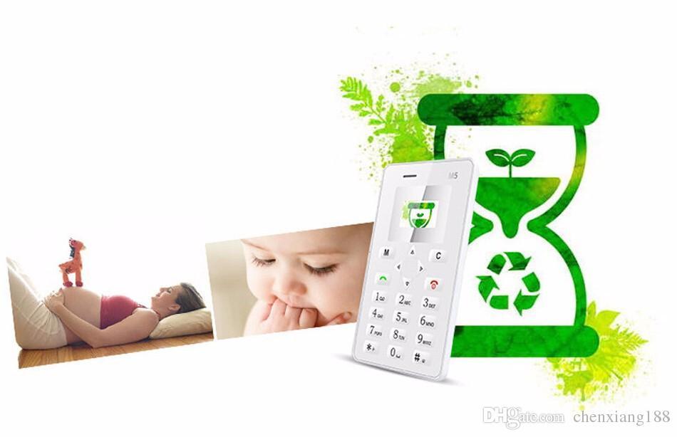 Heißer Verkauf AIEK M5 Karte Grundlegende Handy Ultra flachste Dünne Tasche Quad Band Niedrige Strahlung AEKU M5 MTK Mini GSM chrildren mobiles