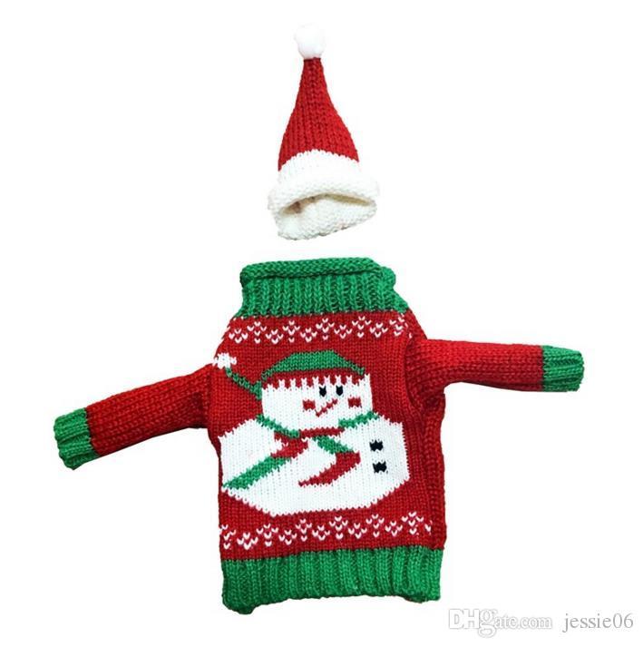 Natale maglione maglia cappello bottiglia di vino coperchio set pupazzo di neve renna Xmas albero bottiglia coperchi evento vacanze regalo decorazioni l'involucro