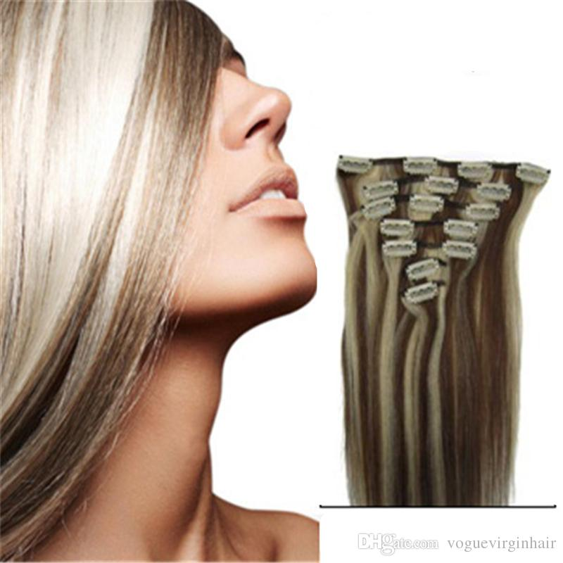 4 613 Blonde Mixed Color Clip In Human Hair Extensions Real Human