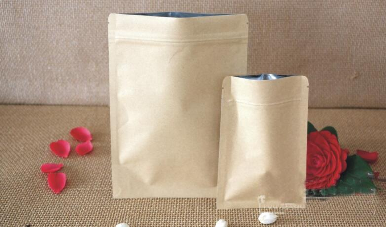 6*8cm Food Moisture-proof Bags Kraft Paper with Aluminum Foil Lining Stand UP Pouch Ziplock Packaging Bag for Snack Candy Party Supplies