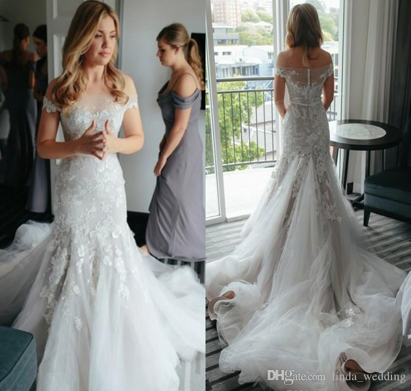 1f44161a800 2017 Delicate Tiered Layered Mermaid Wedding Dress Vintage Off The  Shoulders Sheer Backless Appliqued Long Bridal Gown Plus Size Custom Made  Strapless ...