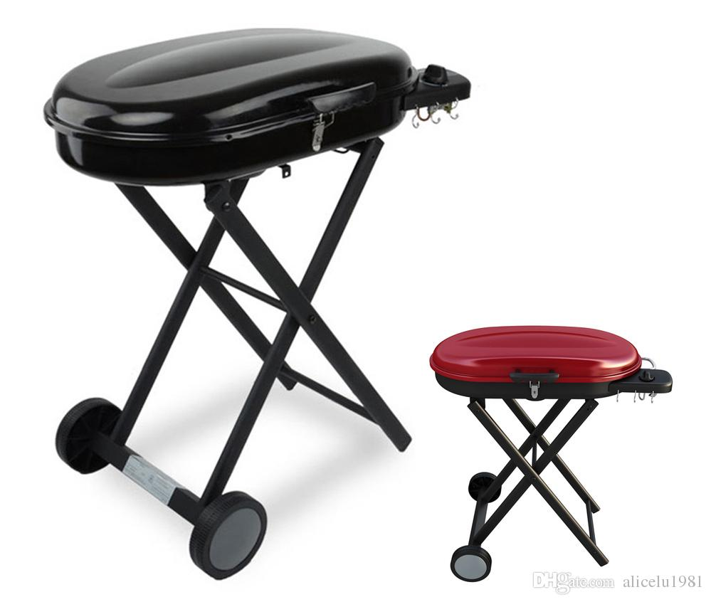 Outdoor Kitchen Accessories Sale: Portable Gas Grills With Foldable Trolley Cart For Camping