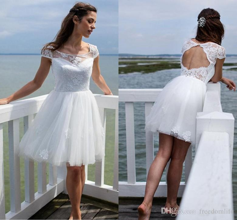 Discount 2017 Summer Short Beach Wedding Dresses Cap Sleeve Scoop ...
