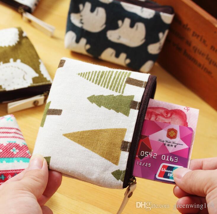 New Novelty Animal Tree Design Canvas Coin Purse Key Wallet Mini Storage Organizer Bag Dual Earphone Holder Birthday Gift