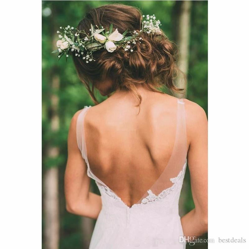 Vintage Bohemian 2017 Country Garden Wedding Dresses Sheer Neck Chapel Train Sexy Backless Modest Boho Bridal Gowns Cheap