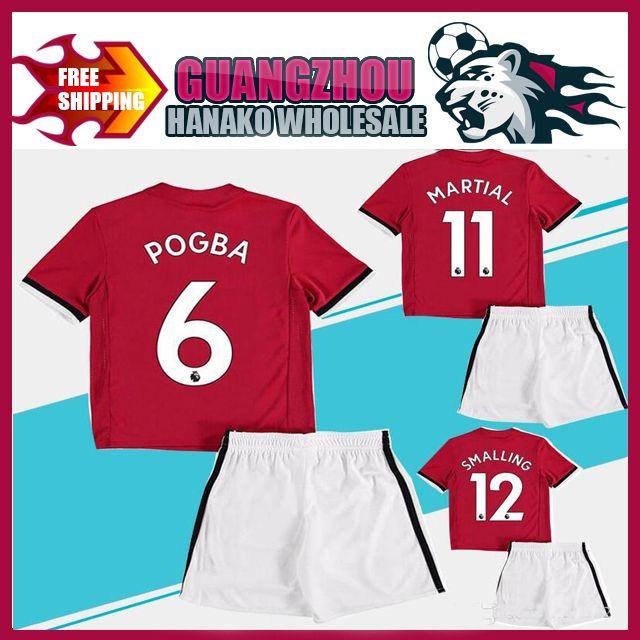 5da279097a3 2018 Kids Kit  6 POGBA Home Red Soccer Jerseys Child Youth Sets 17 ...
