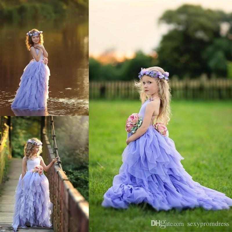 Lavender Halter Girls Pageant Gowns Tulle Tiered Long Flower Girl