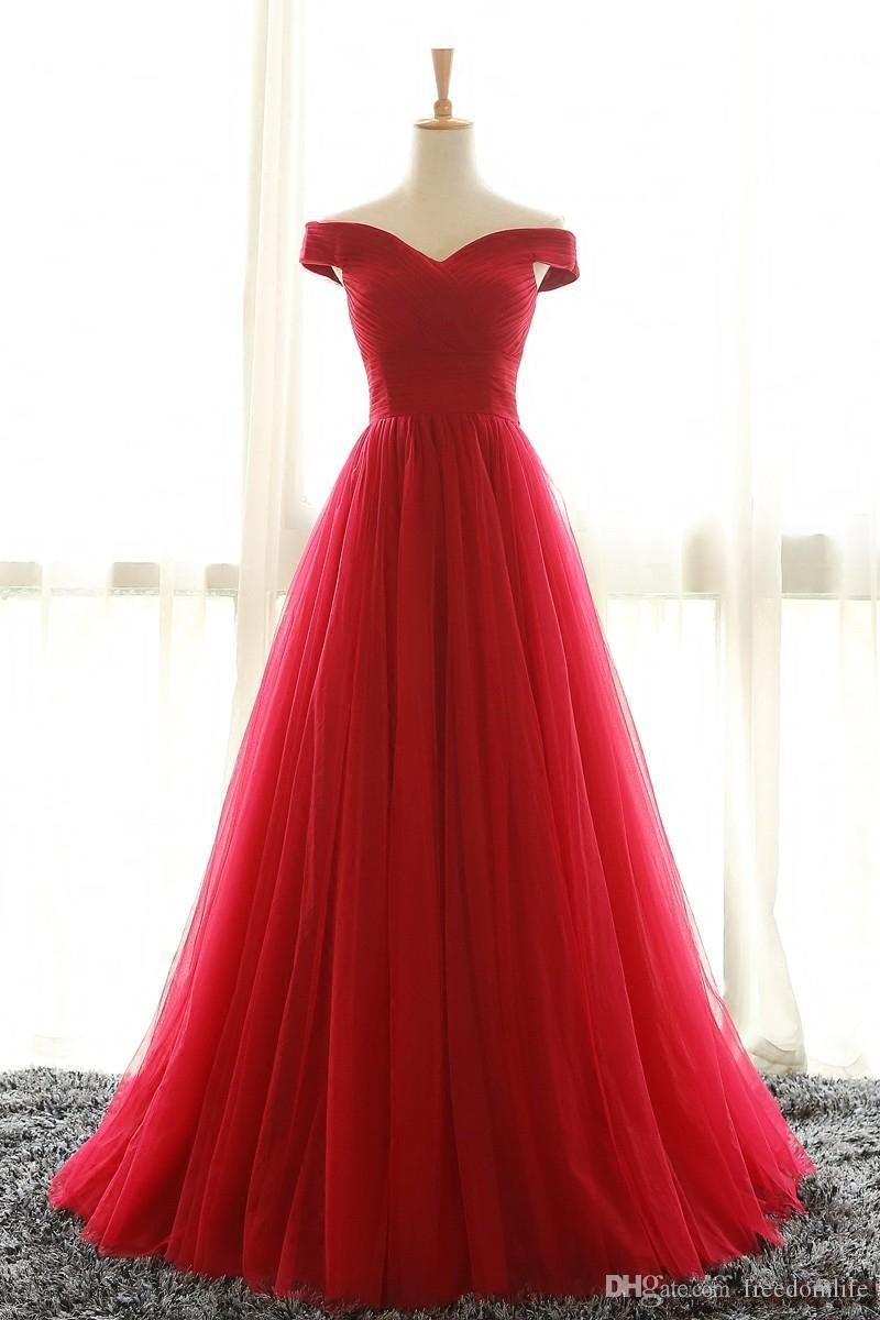 Cheap Off Shoulder Red Tulle Evening Dresses Party Gowns 2017 Sweep Train Pleated Plus Size Corset Formal Prom Dress
