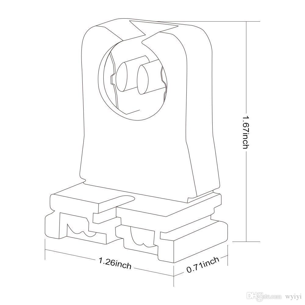 UL 등록되지 않은 T8 램프 홀더, Ruixin 소켓 LED 형광등 교체 용 Tombstone Turn-type Lampholder 20-Pack