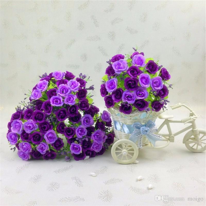 Flores decorativas Belas Flores Decorativas 1 Bouquet 21 Cabeça Artificial Falso Rose Wedding Party Home Decor Flor De Seda