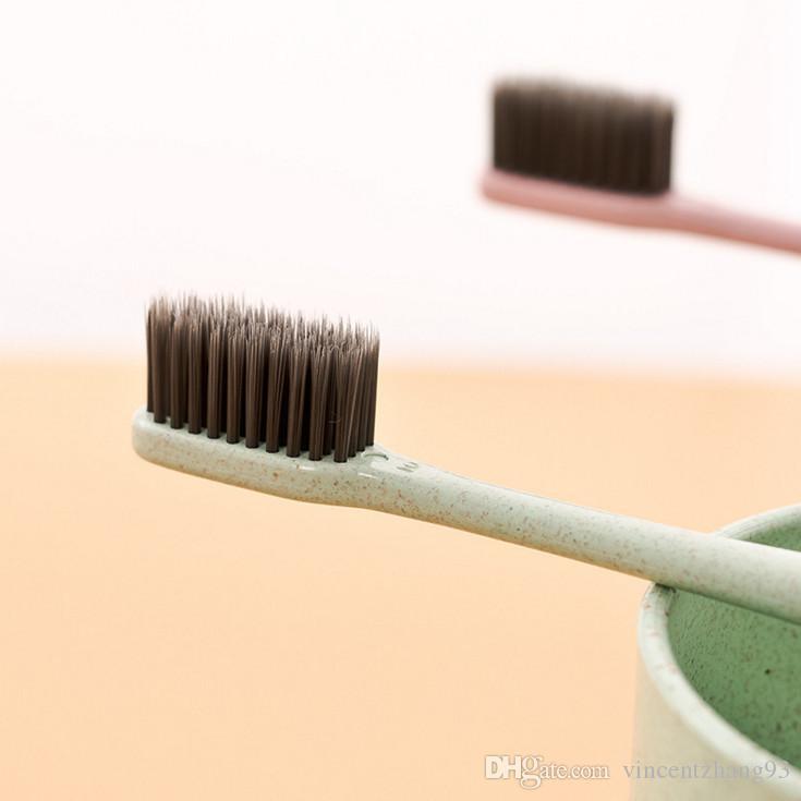 2017 nova coréia moda portátil escova de dentes de viagem de trigo macio carvão de bambu escova de dentes língua limpa para crianças e adultos